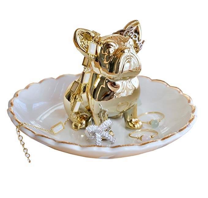 PUDDING CABIN Bulldog Ring Holder Dish Trinket Holder Gold Jewelry Tray for Wedding Engagement