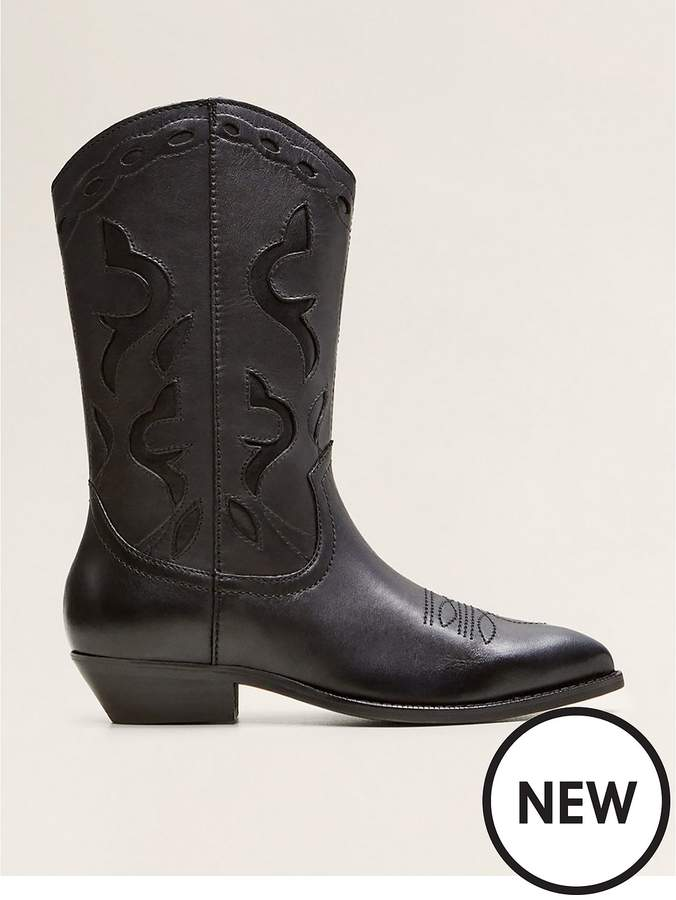 Mango Nancy Cowboy Leather Boots - Black