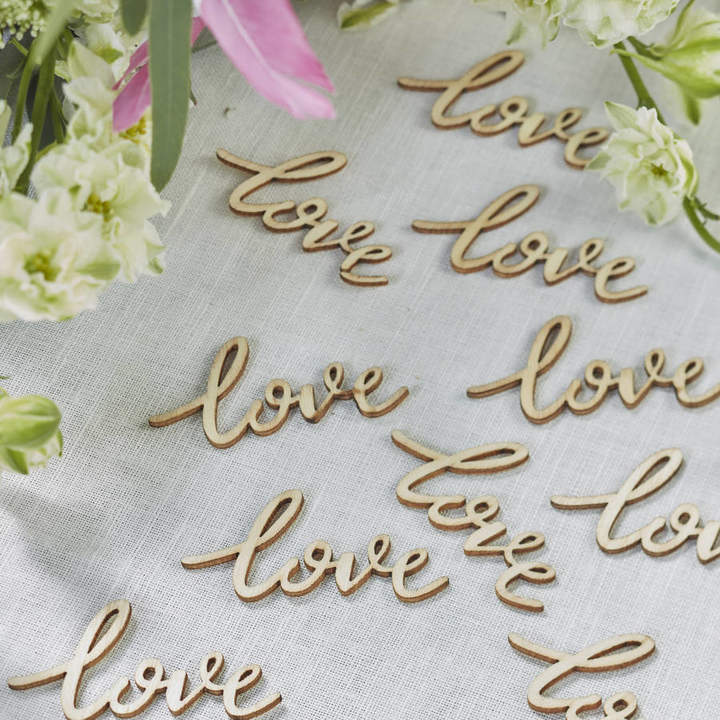 Ginger Ray Boho Wooden 'Love' Wedding Table Confetti