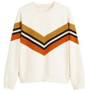 Cotton contrast panels sweatshirt