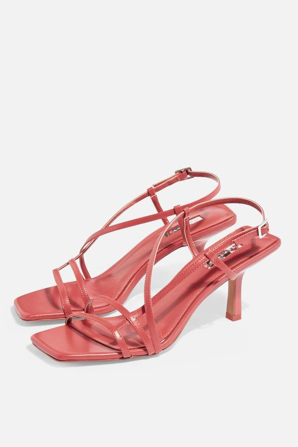 Topshop Womens Strippy Coral Heeled Sandals - Coral
