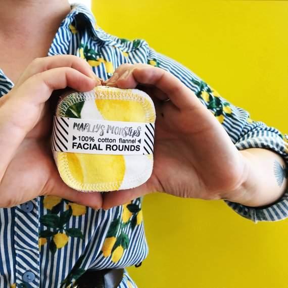 "20 Reusable 3"" FACIAL ROUNDS in Vintage Lemons"