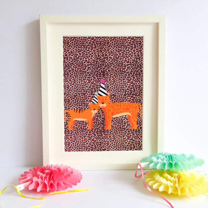 Kitty's Prints Tiger And Leopard Tea Party Print