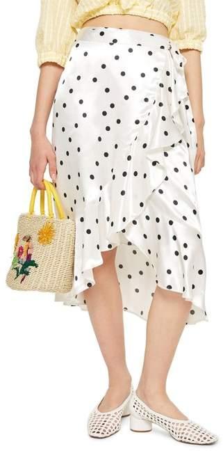 TOPSHOP Satin Spot Ruffle Skirt