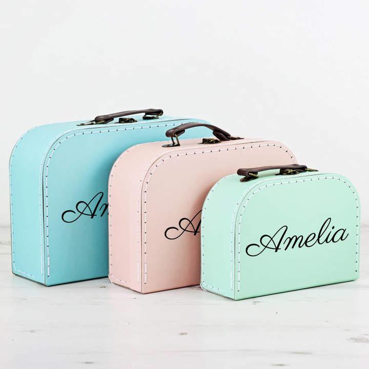We Love To Create Personalised Pastel Suitcase Storage Box Trio