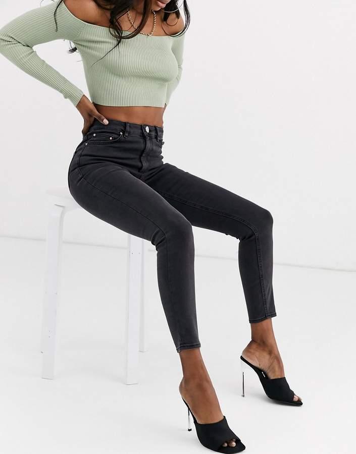 Asos Design ASOS DESIGN Ridley high waisted skinny jeans in washed black