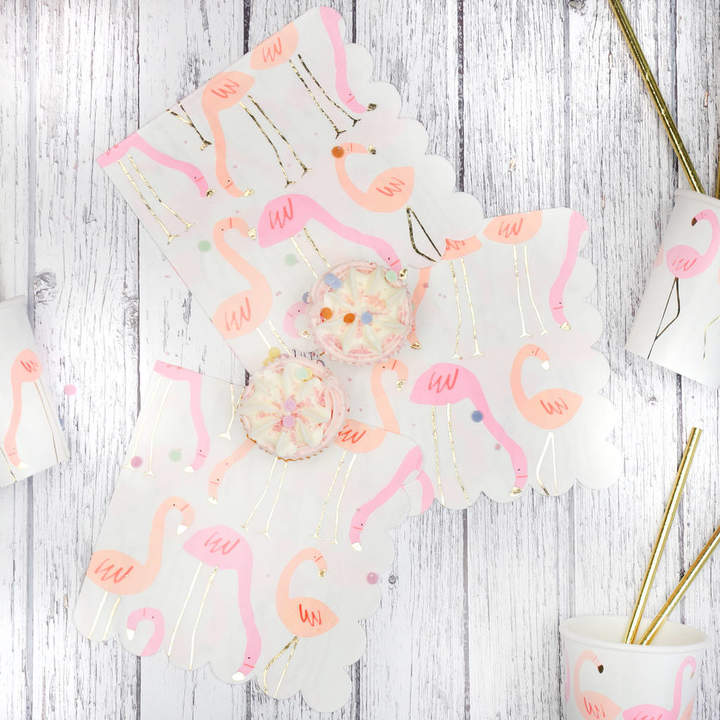 Postbox Party Neon And Gold Flamingo Pattern Party Napkins