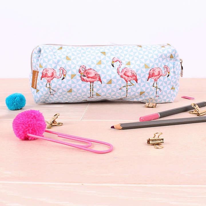 Milly Green Tropical Flamingo Pencil Case