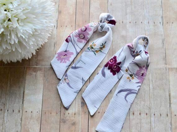 Hair Scarf - Silky Hair Scarf - Floral Hair Scarf - White Hair Scarf - Hair Bandana - Fabric Hairtie - Lilac hair scarf - hair