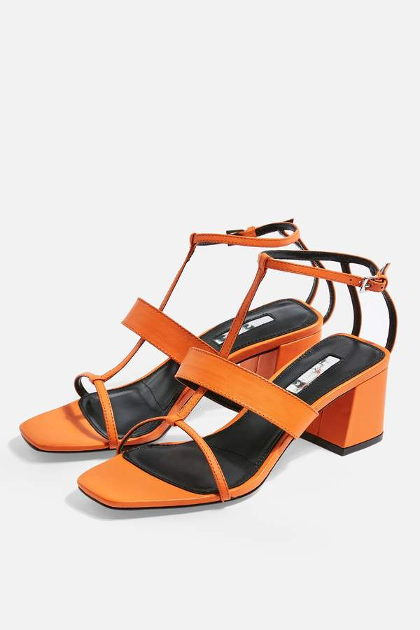Topshop Womens Ribbon T-Bar Sandals - Orange
