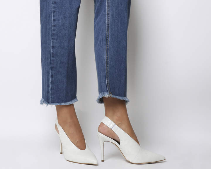 Office Mistress Slingback Point Heels White Snake Leather