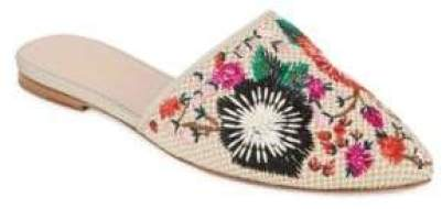 nature-inspired accessories Kate Spade Embroidered Mules