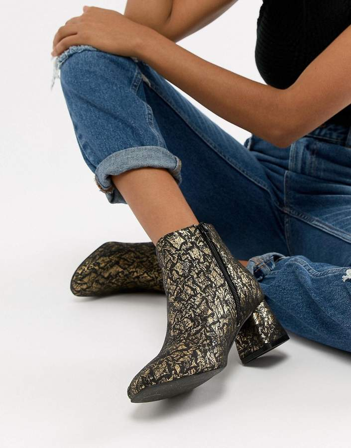 Vero Moda gold floral ankle boots