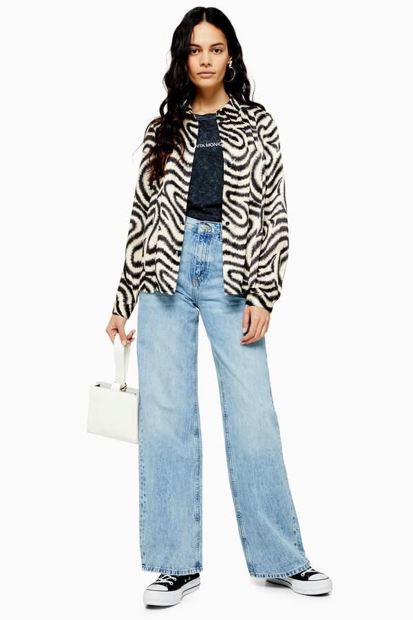 Topshop Womens Bleach Slim Wide Jeans - Bleach Stone