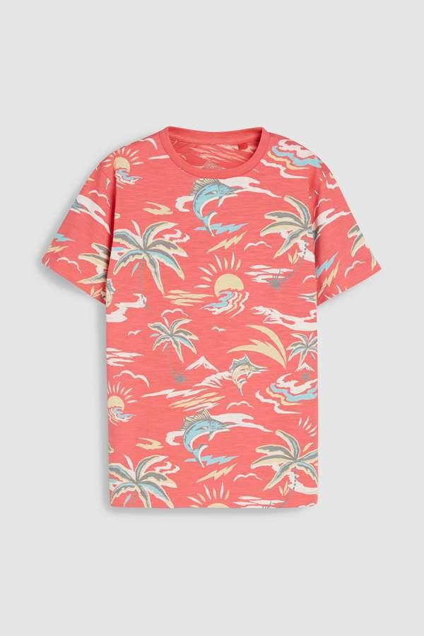 Boys Next Coral Hawaiian Print T-Shirt (3-16yrs)