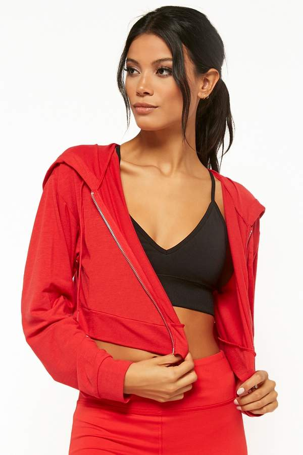 Forever 21 Active Cropped Zip-Up Hoodie