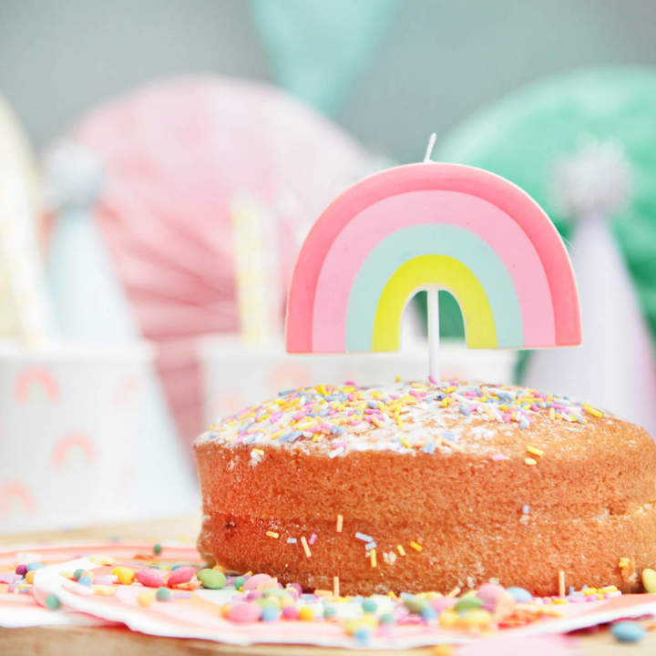 Postbox Party Neon Rainbow Shaped Party Candle