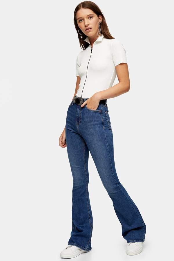 Topshop Womens Mid Blue Jamie Flare Jeans - Mid Stone