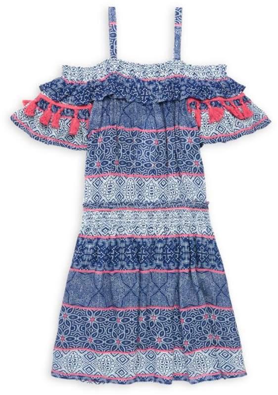 Ella Moss Girl Girl's Tile-Print Gauze Cold-Shoulder Dress