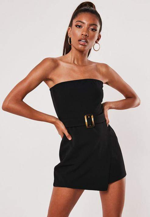 Petite Black Belted Bandeau Skort Playsuit, Black
