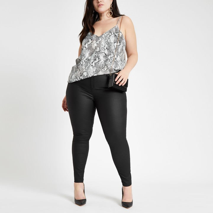 Womens Plus Black coated Molly jeggings