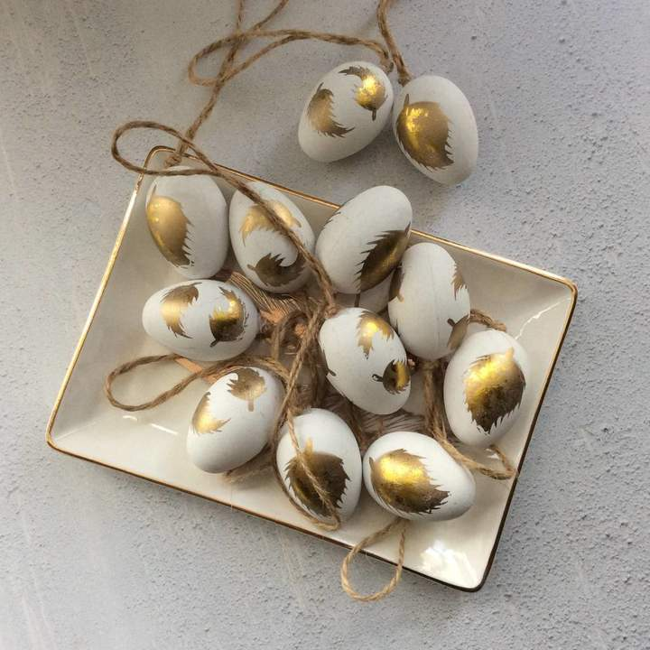 The Chicken And The Egg Mini Easter Egg Decorations With Gold Feather Design