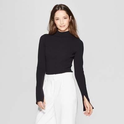 Women's Long Sleeve Ribbed Turtle Neck Sweater - PrologueTM Black