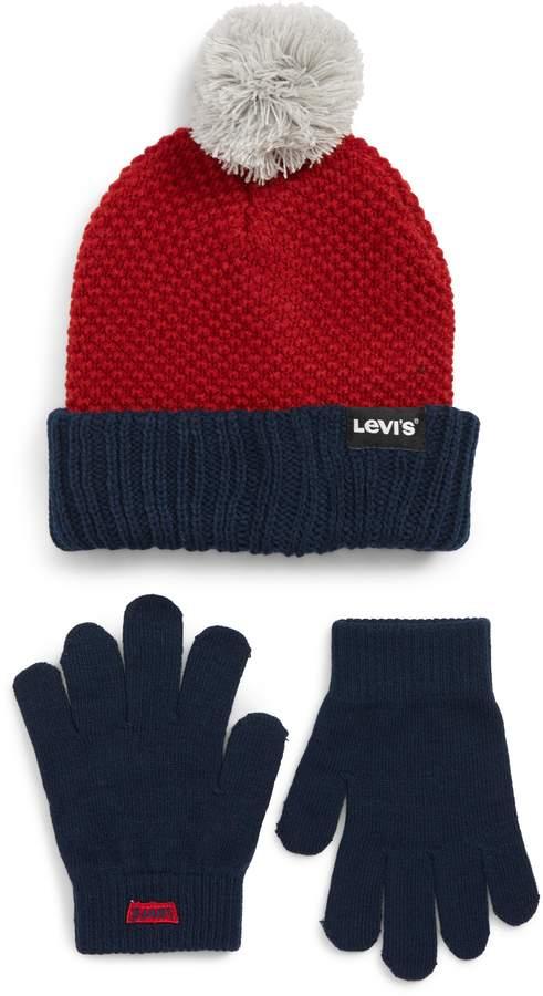levi's Bold Beanie & Gloves Set