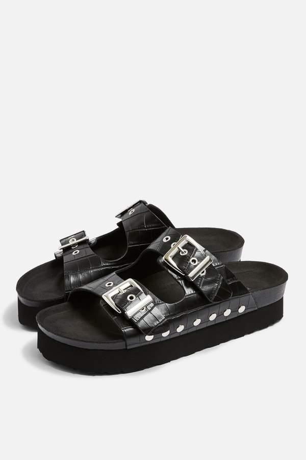 Topshop Womens Freya Vegan Black Footbed Sandals - Black