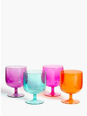 John Lewis & Partners Summer Party Stacking Plastic Wine Glasses, Set of 4, 300ml, Assorted