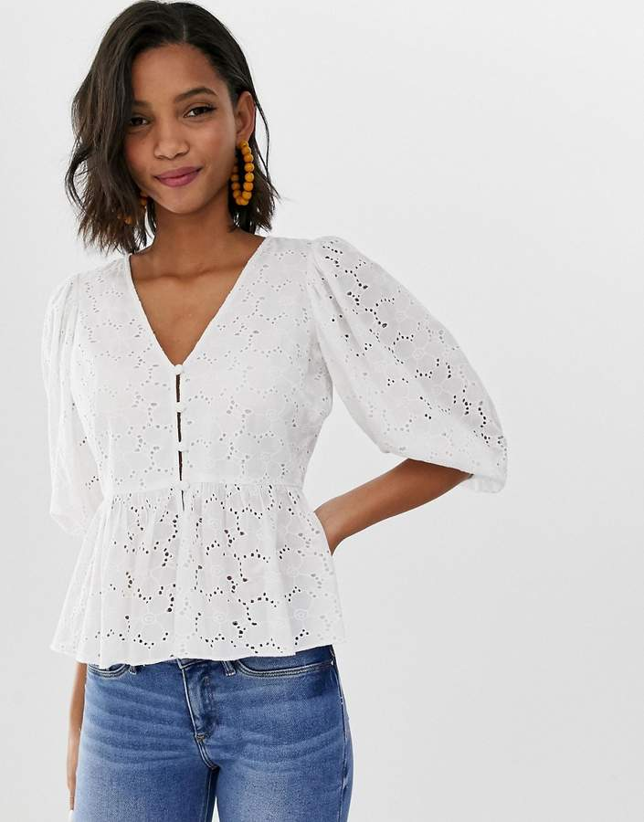 Asos Design ASOS DESIGN tea blouse in broderie with volume sleeve