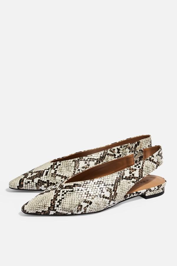 Topshop Womens Abella Slingback Shoes - Natural