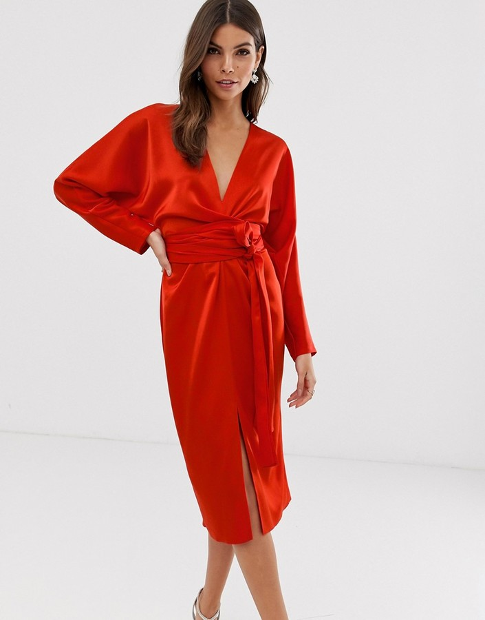 ASOS DESIGN midi dress with batwing sleeve and wrap waist in satinin red