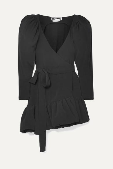 ROTATE Birger Christensen - Asymmetric Crepe Wrap Mini Dress - Black