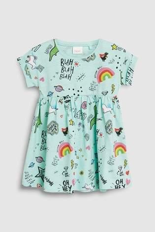 Girls Next Aqua Short Sleeve Dinosaur Slogan Dress (3mths-7yrs)