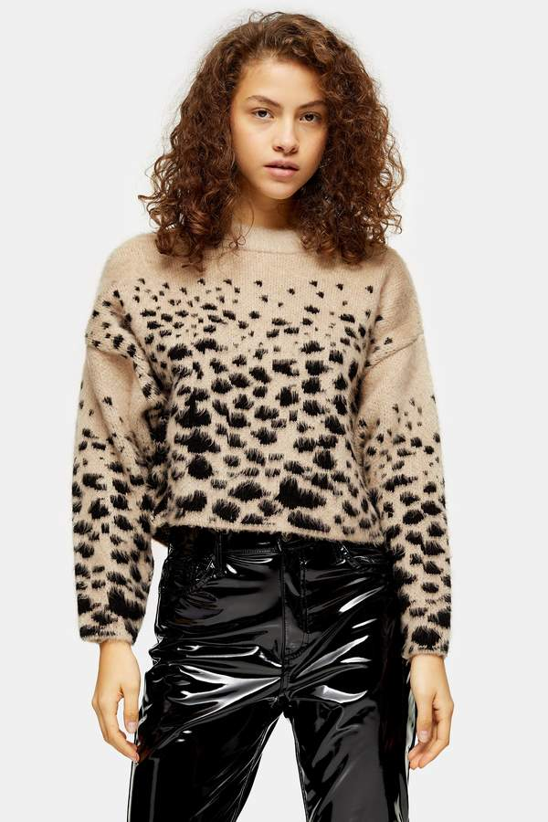 Topshop Womens Petite Knitted Snake Pattern Jumper - Neutral