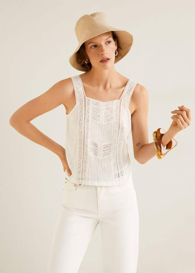 Embroidered strap top
