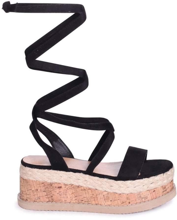 Linzi CASSIE - Black Tie Up Espadrille Inspired Flatform