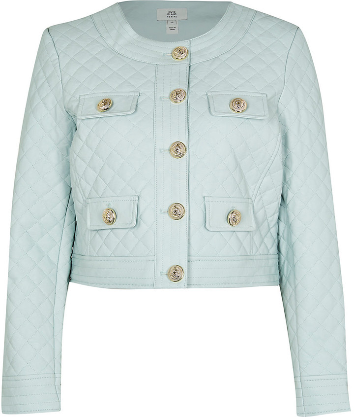 River Island Womens Petite Green faux leather quilted jacket