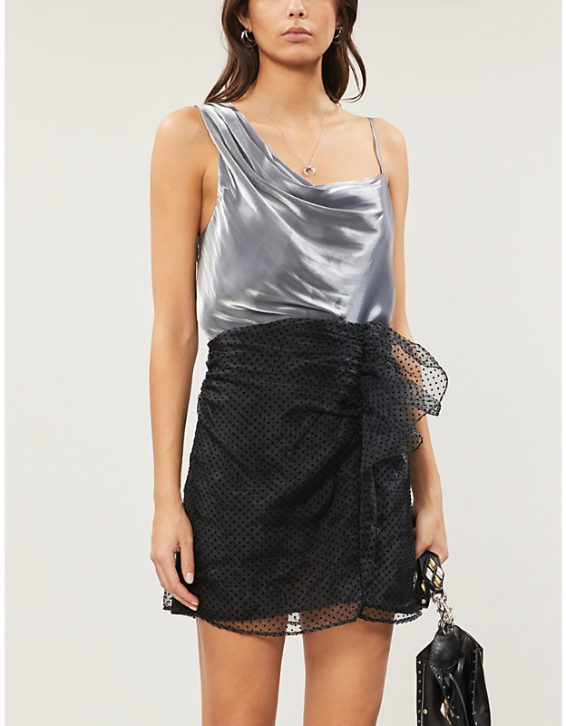 Free People Shimmy Shimmy asymmetric satin-crepe top