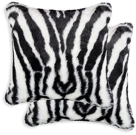 luxe faux fur belton 2 pack square zebra print faux fur pillow set
