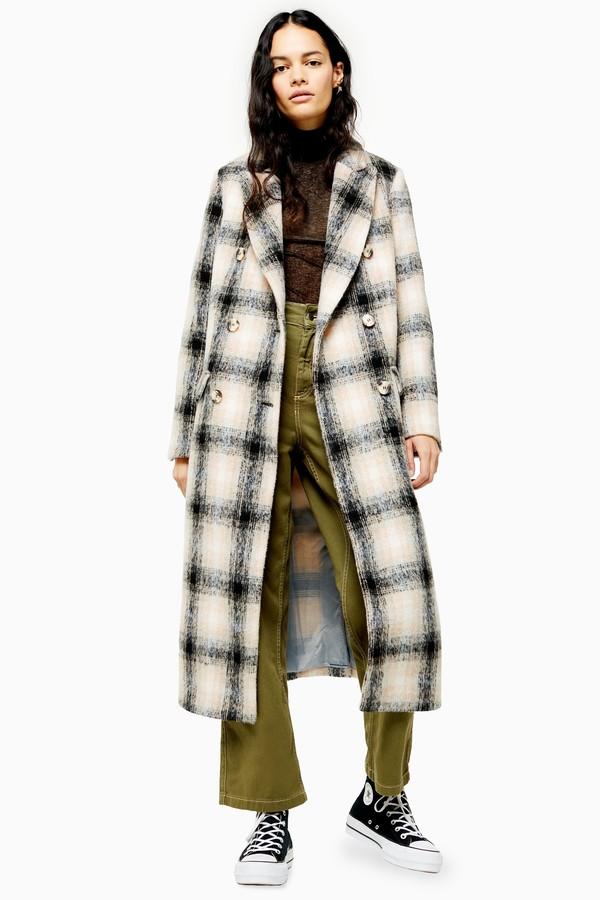 Womens Black And White Check Coat - Multi