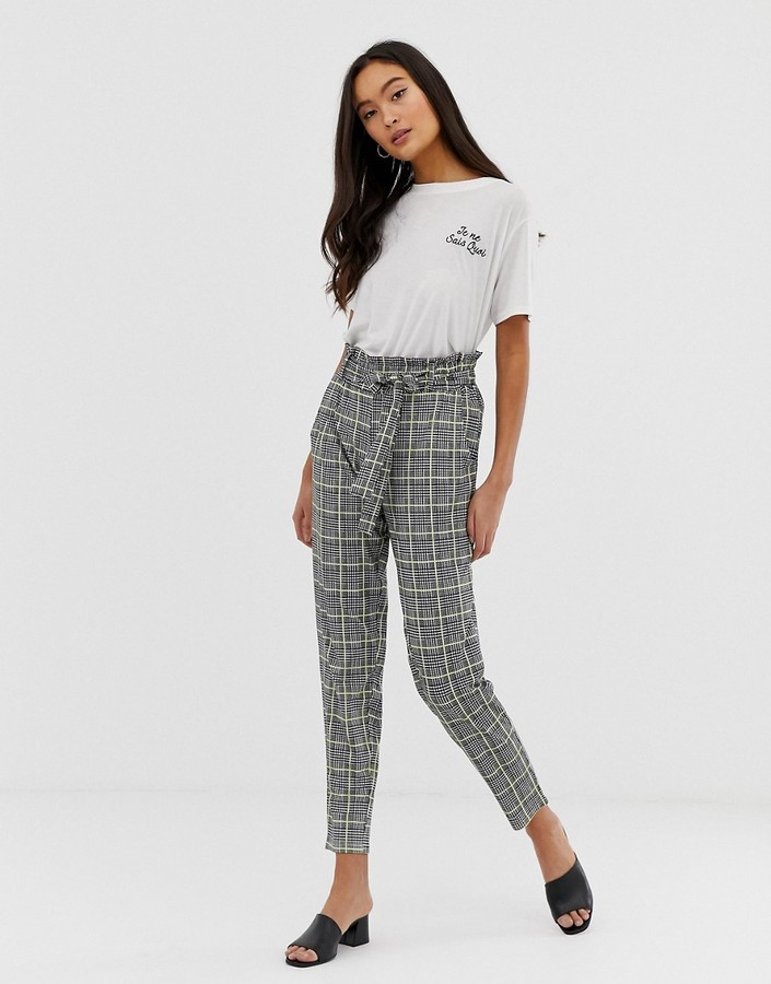 Qed London QED London paperbag waist peg pants in houndstooth with neon yellow check