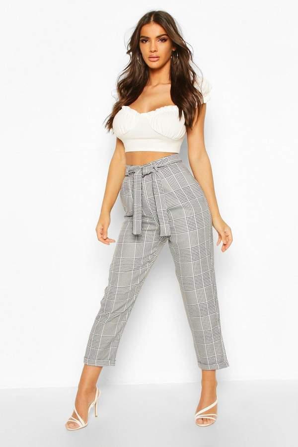 Boohoo Turn Up Dogtooth flannel Slim Fit Pants