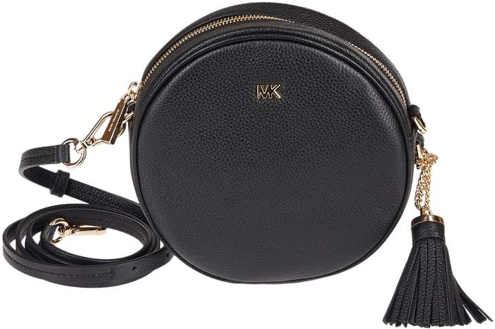 A Michael Kors Mercer Canteen Crossbody Bag Crafted In Pebbled Leather, Polyester Lining, And Gold-tone Metal Hardware