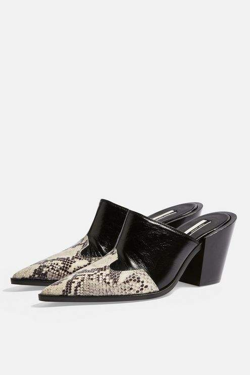 Topshop Womens Graze Leather Western Mules - Black