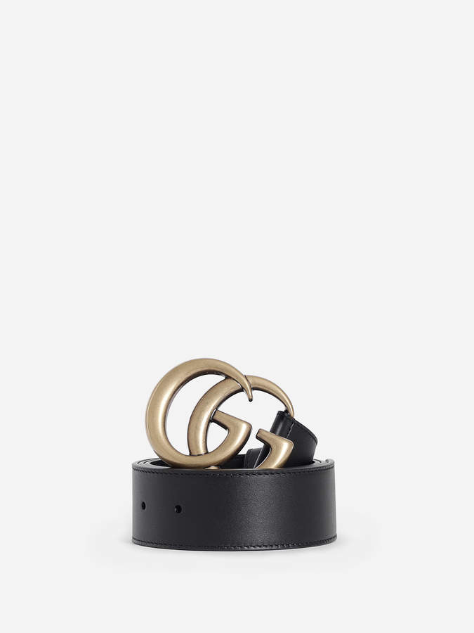 Gucci GUCCI WOMEN'S LEATHER BELT WITH DOUBLE G BUCKLE