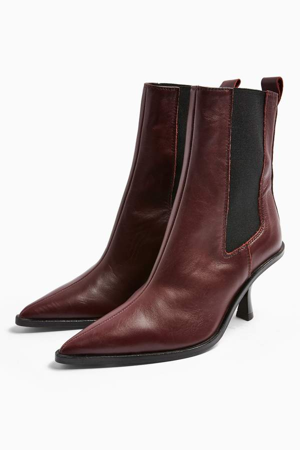 Womens Madrid Leather Burgundy Chelsea Boots - Burgandy