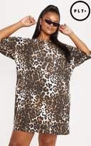 Plus Tan Leopard T-Shirt Dress