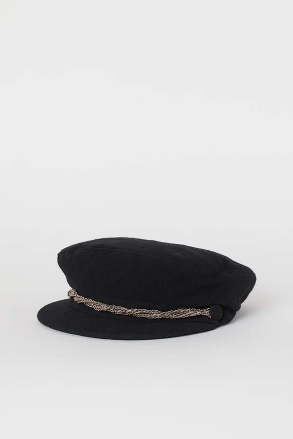 H&M - Wool-blend Captain's Cap - Black
